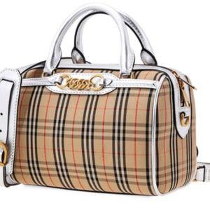 BURBERRY-8006443-SMALL-CHECK-LINK-BOWLING-BAG-SIL